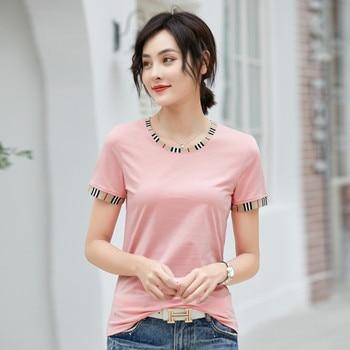New 2020 Short Sleeve T-shirt Women's Korean Style Popular Round Neck Stitching Slim Simple Top Women Clothes Tee Shirt Femme