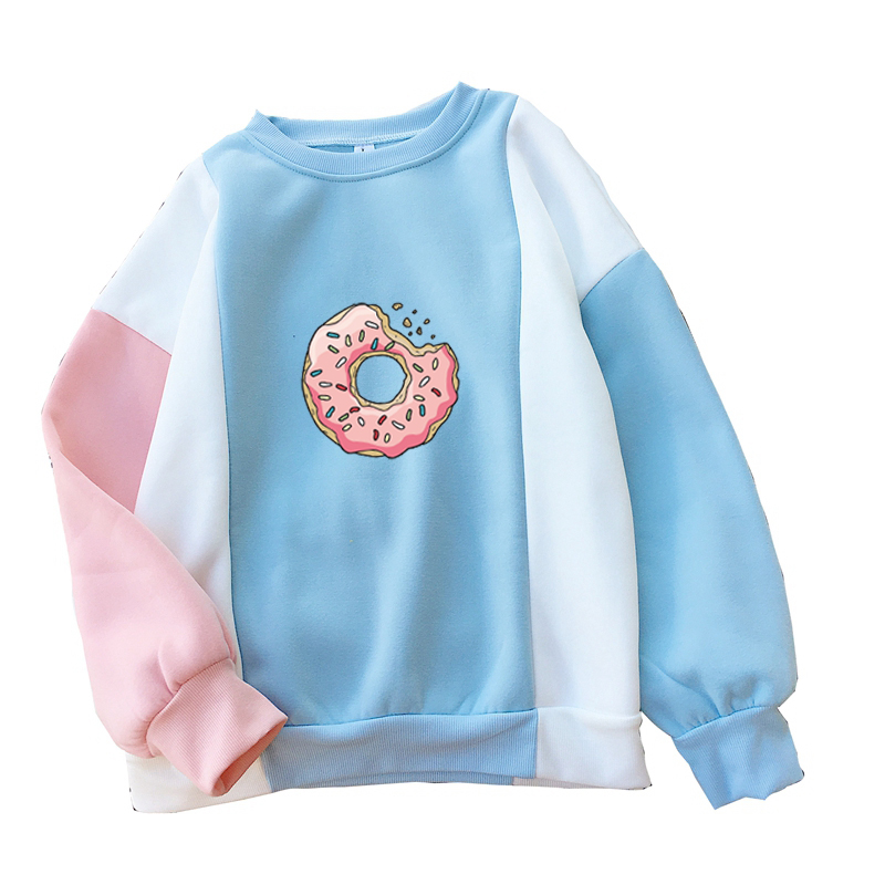 Women Sweatshirt Harajuku Kawaii Donuts Printing Cute Hoodies Patchwork Pastel Contrast Color O-neck Winter Autumn Clothing Top