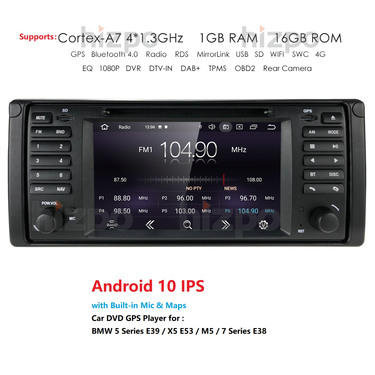 1Din Android 10 Auto <font><b>Radio</b></font> Car IPS DVD GPS Player for <font><b>BMW</b></font> E39 <font><b>E38</b></font> X5 E53 Navigation Car Multimedia Stereo Navigation USB Wifi 4G image
