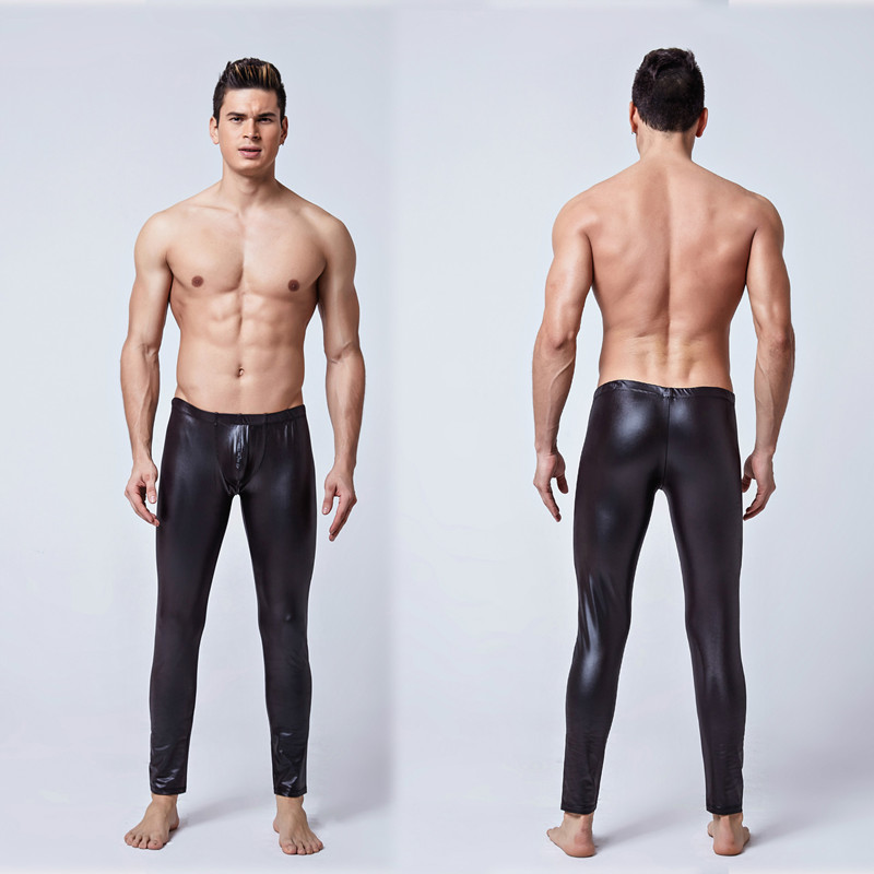 Male Underwear Erotic Latex Pants Leather Fetish Men Tight  Polo Dance Pants Sexy Adults Costumes For BDSM Bondage Gay Sex