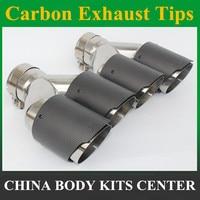 2 個ユニバーサルデュアル AK 炭素繊維排気先端ステンレス鋼修正された排気管 -