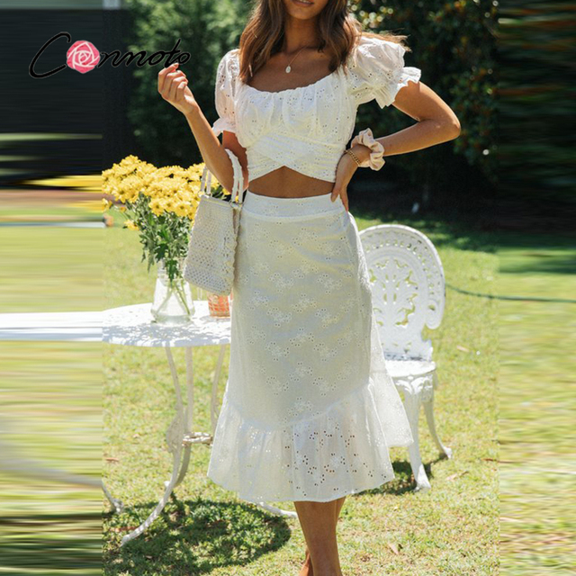 Conmoto Casual two-piece mesh white lace dress women Vintage bandange short crop top suit summer Puff sleeve holiday dress sets 1