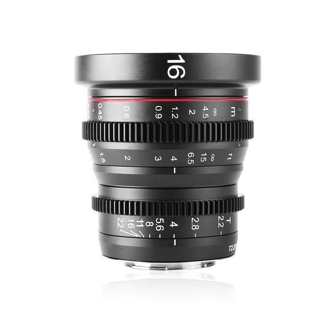 Meike MK 16mm T2.2 Manual Focus Aspherical Portrait Cine Lens for Micro Four Thirds (MFT, M4/3) Mount Olympus Panasonic