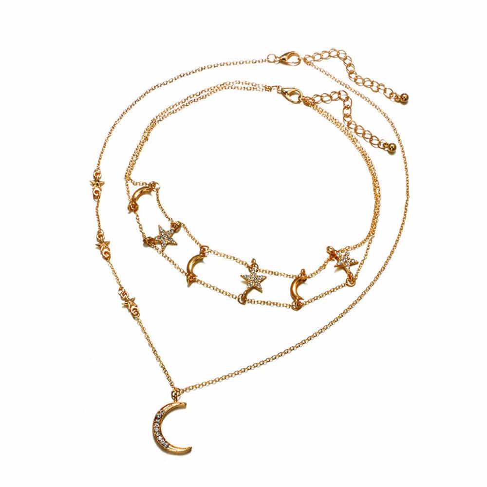 Colar de aço inoxidável estrela lua strass geométrica clavícula corrente pentagrama colar ouro vintage pingente