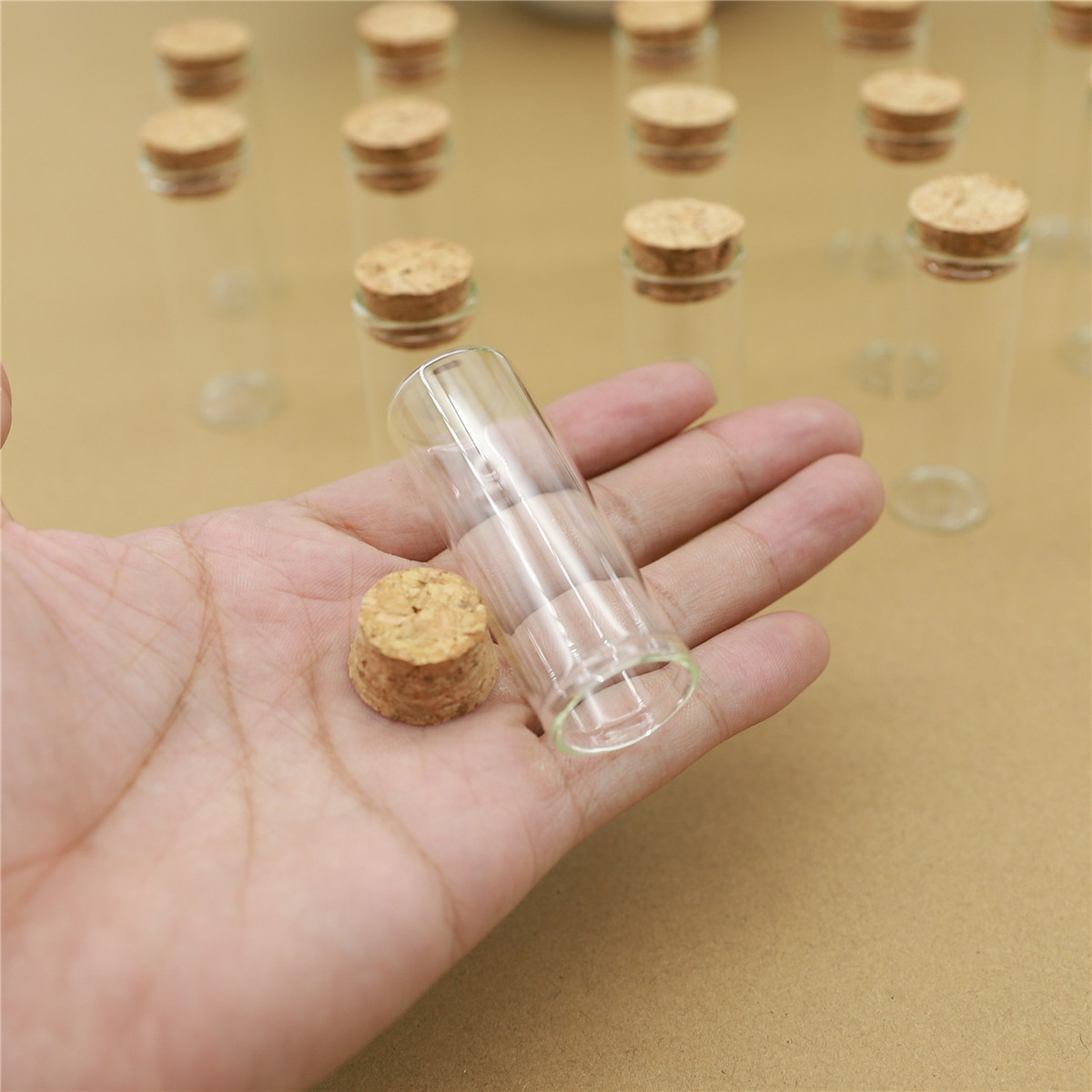 50pcs 12ml 22*60mm Mini Glass Cork Bottles Test Tube Stopper Spice Bottles Container Small DIY Jars Vials Tiny Bottle glass