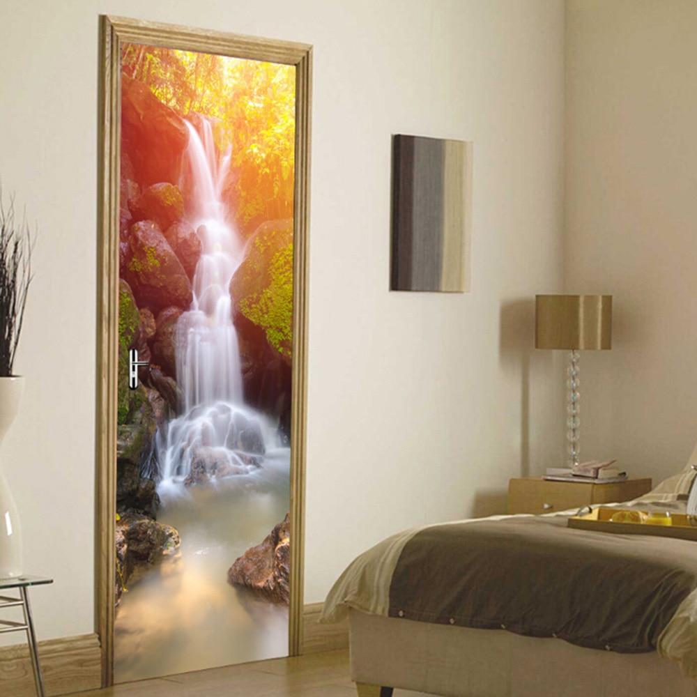 2 stuks Home Decoratie 3d sticker muur Adesive Landschap Art Behang Waterdichte Wand Deur Decor - 5