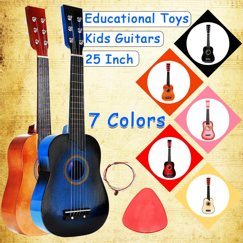 25 Inch 6 String Acoustic Guitar Beginner Practice Musical Instrument Stringed Guitar For Beginners Students