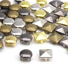100Pcs 6-12mm 4 Artiglio Rivetti Quadrato/Rotondo In Metallo Spike Borchie a Piramide Rivetti Per Picchi di Cuoio sui Vestiti/Scarpe/Borse/Cinghia Punk FAI DA TE