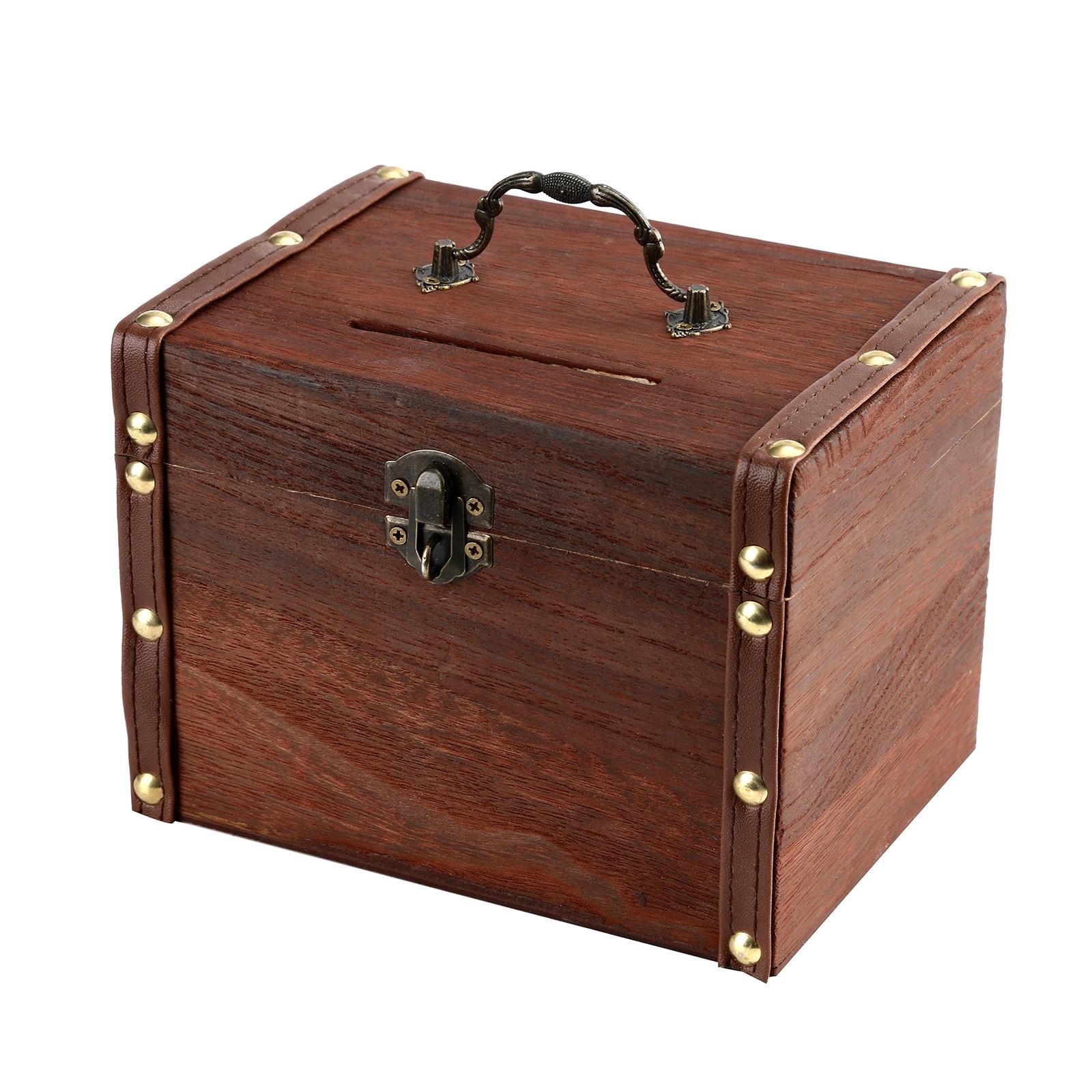 Grande de madeira mealheiro cofre cofre caixa de dinheiro poupança com fechadura escultura em madeira artesanal lendário tesouro caixa organizador marrom