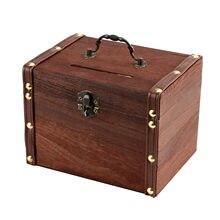 Hucha de madera para guardar dinero, caja de ahorro con cerradura, tallado de madera, hecho a mano, organizador de Cofre del Tesoro legendario, marrón