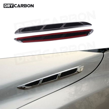 2PCS Universal Car Engine Hood Air Intake Flow Vent Fender Cover Decoration Shark Gill Stickers Fender Bumper Trunk 3D Sticker image
