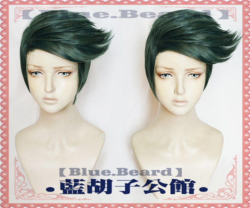 Image 4 - New JoJo's Bizarre Adventure Rohan Kishibe Cosplay Wig Short Dark Green Heat Resistant Synthetic Hair Wigs + Wig Cap-in Anime Costumes from Novelty & Special Use