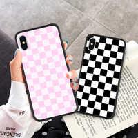 Cartoon Phone Case Coque For iPhone 7 8 Plus XR X XS MAX 6 6S Plus X 5 SE Classic Plaid Black Phone Cover For iPhone 8 7 Plus