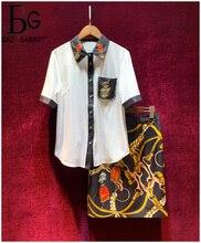 Baogarret Runway Designer Vintage Chain Printed Skirt Suit Womens Fashion Office Lady Two Piece Set Female Autumn