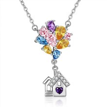 House Rhinestone Necklaces Women Balloons House Pendant Necklace Room Cute Dainty Charm Romantic Gift Jewelry(China)