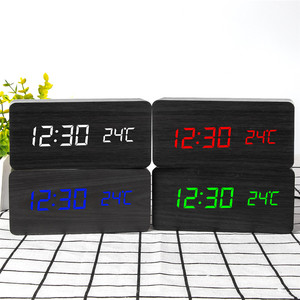 Image 4 - Multicolor LED Wooden Alarm Clock Watch Table Voice Control Digital Wood Despertador Electronic Desktop USB/AAA Powered Clocks