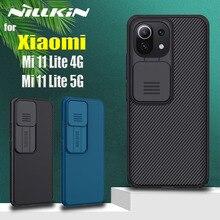 שקופיות מצלמה הגנת מקרה עבור Xiaomi Mi 11 לייט 5G/4G Nillkin עדשה להגן על פרטיות עמיד הלם חזרה כיסוי עבור Xiaomi Mi11 לייט