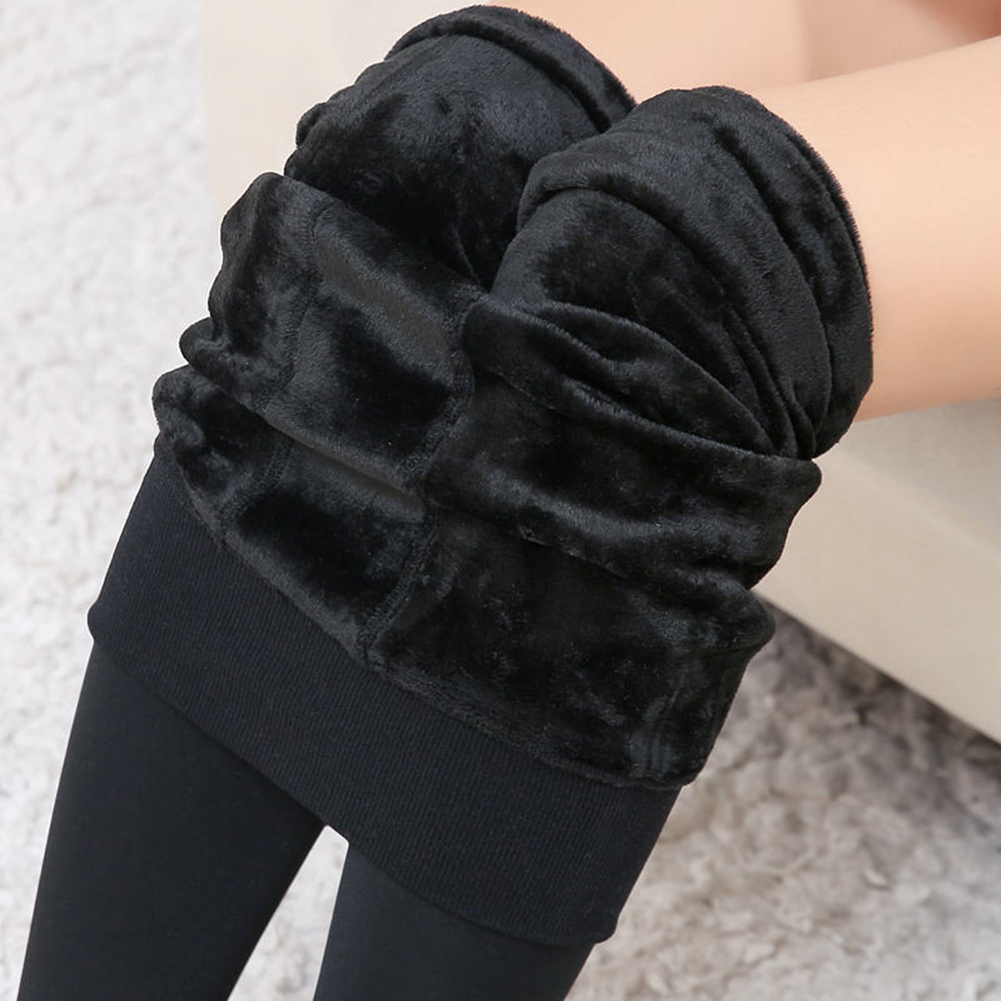 Winter Elastic Women Warm Leggings Ankle-Length Solid Pants High Waist Pants Plus Velvet Thickening Pants Leggings