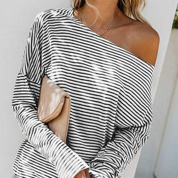 One Shoudler T Shirt mode lâche rayé manches chauve-souris T-shirt coupe asymétrique personnalité des femmes hauts Tee-Shirt