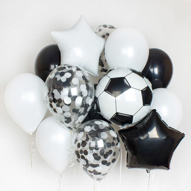 1 комплект, футбольные шары в виде футбольных мячей, Тема 12 дюймов, латексные воздушные шарики для гелия, черный, зеленый, вечеринка для мальч...