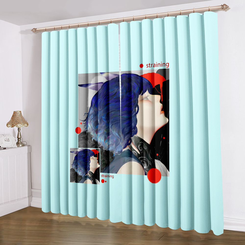 Glamour Woman Curtains 2 Panels Modern Curtain 3D Print Curtain Blue Background Curtain Home Textile Drapes Living Room Curtain