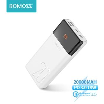 ROMOSS LT20Plus Power Bank 20000mAh QC PD 3.0 Quick Charge PoverBank 20000mAh Powerbank External Battery For Xiaomi iPhone topk power bank 20000mah portable battery charger quick charge pd 3 0 for iphone xiaomi samsung mobile phone