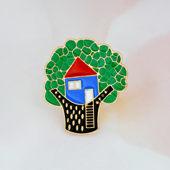 Tree house enamel brooch Childlike Cartoon Button Pin Denim clothes buckle badge Jewelry Birthday Gift for Kids boy girl image