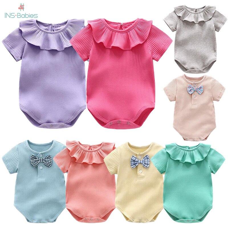 Bebê recém-nascido roupas de verão do bebê sair escalada corpo menina malha macacão manga curta macacão roupas do bebê