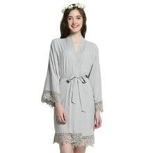 YUXINBRIDAL 2019 New Grey Solid Rayon Cotton Bridesmaid Robes With Lace Trim Women Wedding Bridal Robe  Kimono bride robes