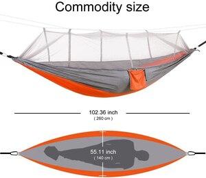 Image 3 - Camping/garten Hängematte mit Moskito Net Außen Möbel 1 2 Person Tragbare Hängen Bett Festigkeit Fallschirm Stoff Schlaf schaukel