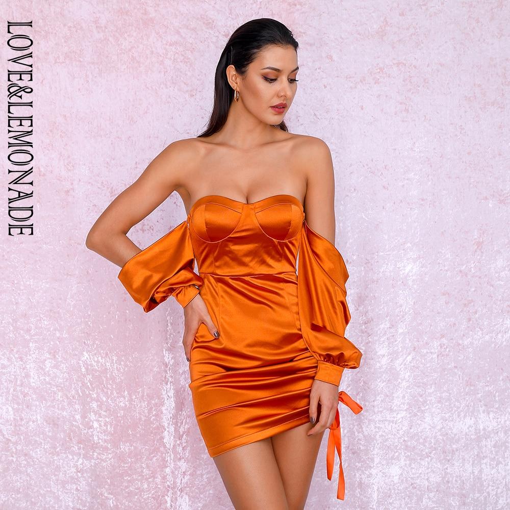 LOVE&LEMONADE Sexy Orange Off-The-Shoulder Tube Top Loose Sleeves Smocked Tiestring Bodycon Mini Party Dress LM81972