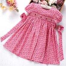 Smocked Váy Đầm Cho Bé Gái Frock Tay Cotton Quần Áo Mùa Hè Trẻ Em Đầm Thêu Đảng Kỳ Nghỉ Học Giả Yếm