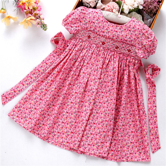 Smocked ชุดสำหรับหญิง frock handmade ผ้าฝ้ายเสื้อผ้าเด็กชุดเด็กฤดูร้อนเย็บปักถักร้อยโรงเรียนวันหยุดบูติก
