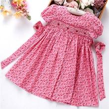Smocked sukienki dla dziewczynek sukienki ręcznie bawełniane ubrania dla dzieci letnie sukienki dla dzieci haft Party holiday school butiki