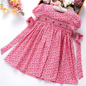 Image 1 - smocked dresses for girls frock handmade cotton baby clothes summer kids dress embroidery Party holiday school boutiques