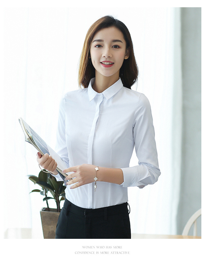 Spring New Women Blouse Office Lady Work Shirts Long Sleeve Slim White Cotton Blouse Female Tops Plus Size Blusas Mujer De Moda