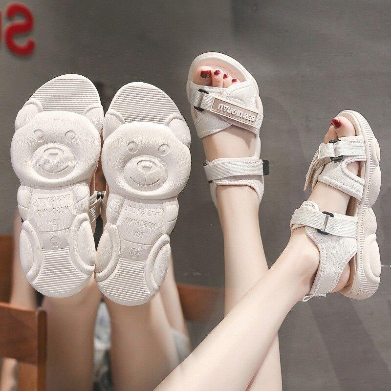 Women's Sandals 2020 Summer New Korean Version of The Wild Flat Sports Shoes Sandals Net Red Bear Bottom Beach Shoes Women Low Heels  - AliExpress