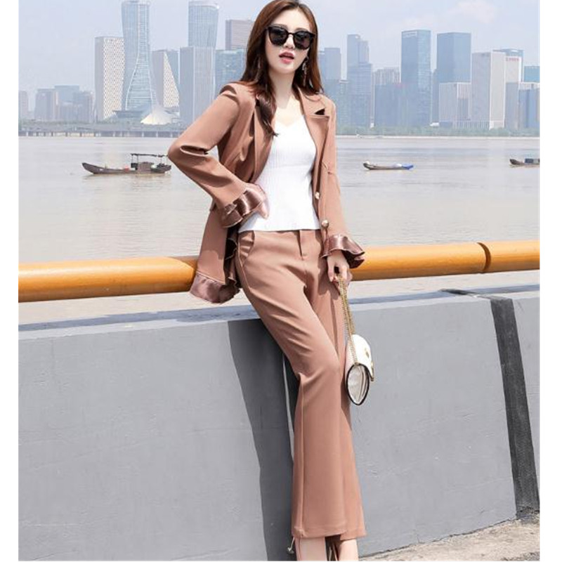 Women's suit two-piece suit (jacket + pants) ladies solid color double-breasted irregular suit ladies casual business wear