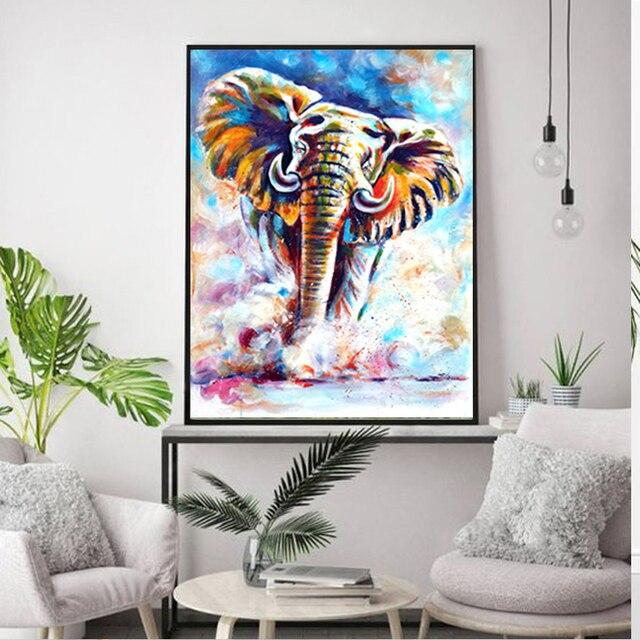 Фото diy 5d diamond painting color elephant embroidery animal cross цена