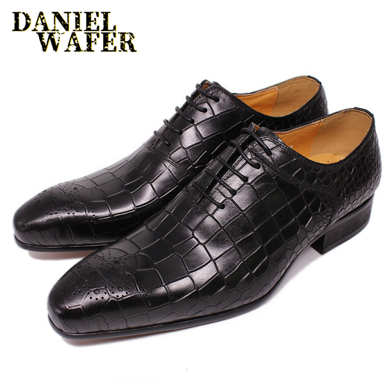 LUXURY MEN LEATHER SHOES BLACK RED CROCODILE SKIN PRINTS LACE UP POINTED TOE OFFICE WEDDING SHOES FORMAL DRESS MEN OXFORD SHOES