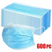 10-600 pces máscara descartável não wove mascarillas 3 camada ply máscara de filtro boca máscara facial respirável poeira earloops máscaras faciais