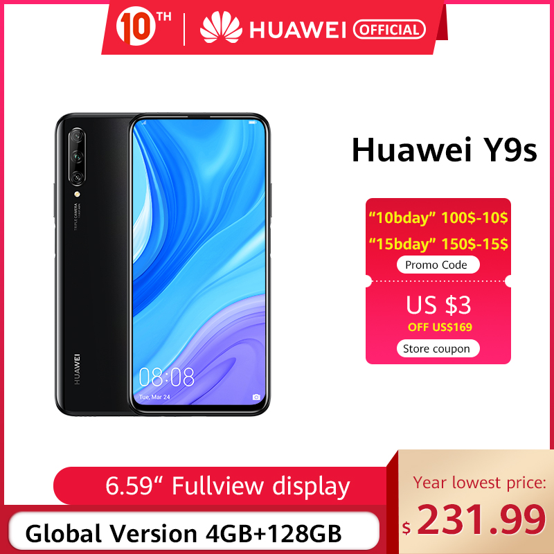 """In Stock Premiere Global Version Huawei Y9s 6GB 128GB 48MP Smartphone Triple AI Cameras Auto-Pop Up Front Camera 6.59"""" Cellphone"""