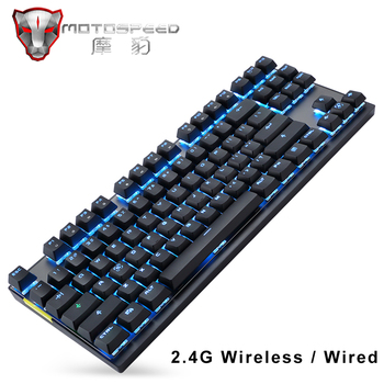 Motospeed 2.4G Wireless Gaming mechanical keyboard Dual Mode 87 key mini keyboard LED Backlit usb receiver For PC computer gamer