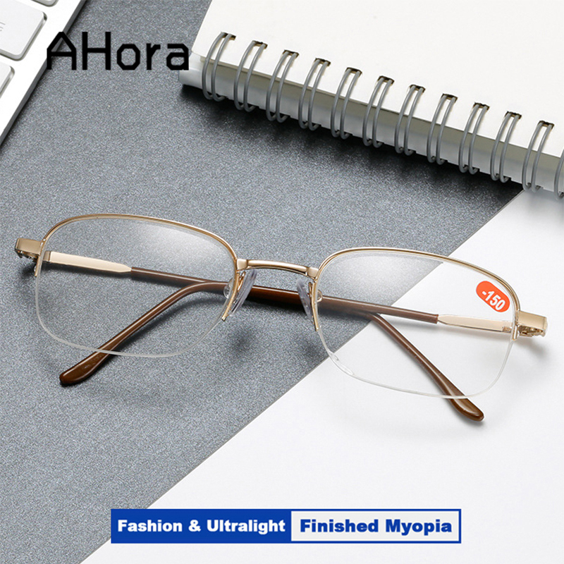 Ahora Half Frame Finished Myopia Glasses Men Women Simple Metal Eyglasses With Diopter -1.0 1.50 2.0 2.5 3.0 3.5 4.0 4.5 5.0 5.5