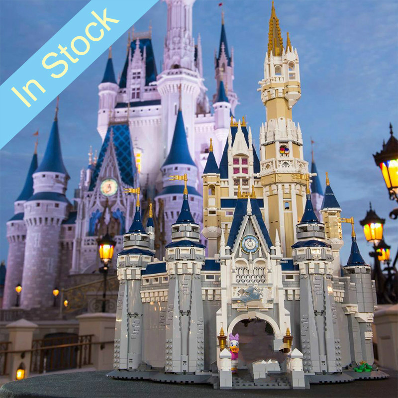 In stock 16008 4080Pcs City Street View Series Cinderella Princess <font><b>Castle</b></font> Building Blocks Bricks Kids Toys Christmas gift <font><b>71040</b></font> image