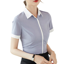 2019 New summer fromal women shirt elegant short sleeve slim chiffon blouses office ladies plus size work tops gray white цена