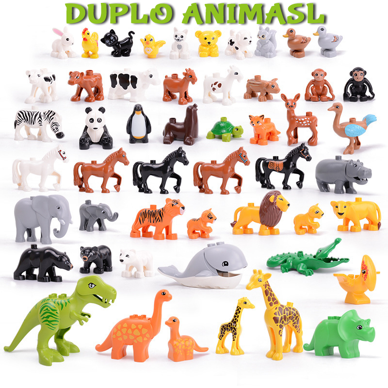 Duploe Animal Series Big Figures Building Blocks Animals Educational Gifts Compatible Duploed Toys For Children Kids Xmas Gift
