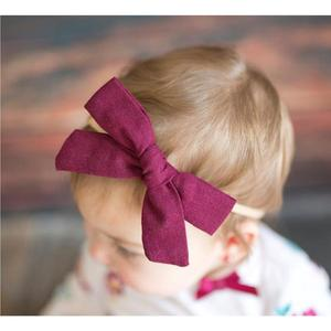 Image 5 - 24 pcs/lot, 4 inches Hand Tied Cotton Linen Hair Bow Clips, Baby Girls Fabric Bow nylon Headbands, Baby shower gift