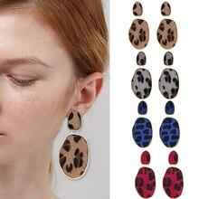 HOCOLE Fashion Leopard Print Drop Earrings For Women 2019 Vintage Statement Imitation Velvet Geometric Dangle Earring Jewelry