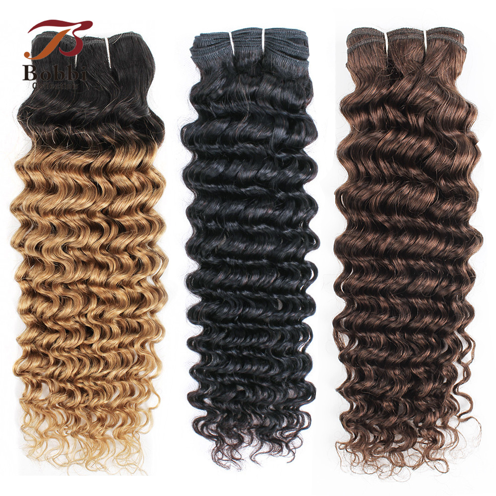 1 Bundle  Deep Wave Remy Human Hair Weave Extension 10-26 inch 1B 27 Ombre Honey Blonde Pre-Colored Dark Brown Bobbi Collection